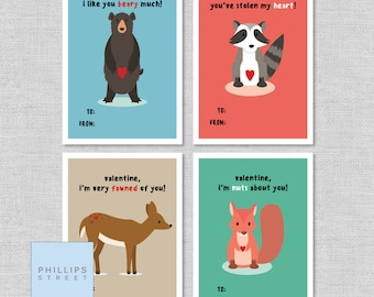printable WOODLAND CREATURES Valentine's Day cards . kids valentines . classroom valentines . instant download . woodland animals