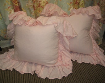 Washed Linen -Pair of Long Ruffled Pillow Shams-- Zip Closure- Long Ruffles - Made to Order Ruffled Pillow Shams-Baby Pink Shown in Photos