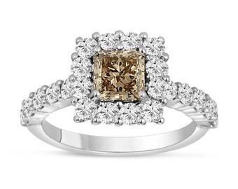 ON SALE 2.16 Carat Champagne Brown Diamond Engagement Ring, Wedding Ring Princess Cut 14K White Gold handmade
