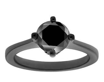 ON SALE Fancy Black Diamond Solitaire Engagement Ring14K Black Gold Vintage Style 1.03 Carat Handmade Unique Gallery Design
