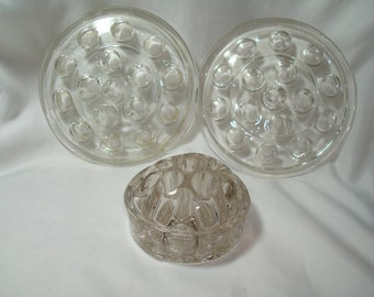 1950s Large and Small Round Glass Flower Floral FROGS.