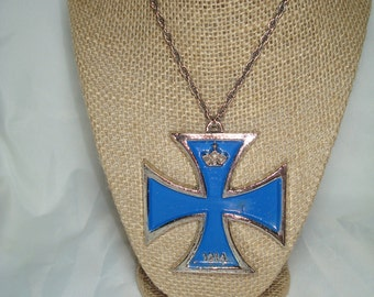 1970s Large Silver and Blue 1914 Maltese Hippie Cross Necklace.