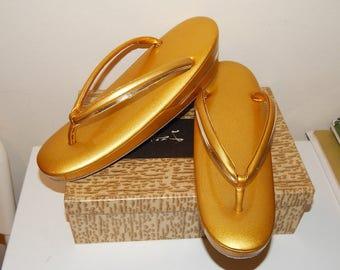 Vintage Golden  Zōri Sandals Japanese Shoes Geisha costume