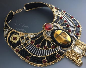 Nephthys - Goddess of Egyptian Underworld, Collar and Tassel Gold Scarab Egyptian Necklace, Egyptian Fantasy Jewelry