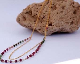 Double layer necklace, Gemstone necklace, Colored tourmaline necklace