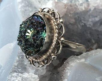 Bohemian Czech Glass Ring Sterling Silver Vintage Jewelry