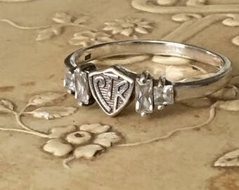 CTR Shield Ring Sterling Silver CZ Baguettes Vintage Latter Day Saints Band