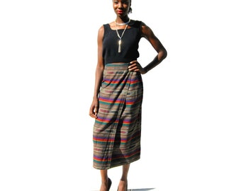 Brown and rainbow southwestern pattern  high waist wrap pencil skirt 1990s 90s VINTAGE