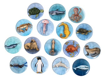 Illustrated Water Creature Pinback Button or Magnet