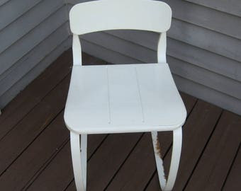 Vintage Ironrite Health Chair, White Metal, 1950s-60s, As-Is