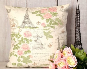 Pink and Green Shabby Cottage Chic Paris Pillow Cover - Pink Roses Pillow - Eiffel Tower - Bird Cage - Fleur de Lis - French Script