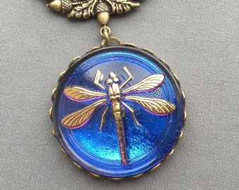 Dragonfly Necklace - Dragonfly Pendant - Dragonfly Jewelry - Czech Glass Necklace - Blue Necklace - Violet Blue Jewelry - Dragonflies