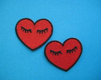 2 pcs iron-on Embroidered Patch Peace in Heart 1.5 inch