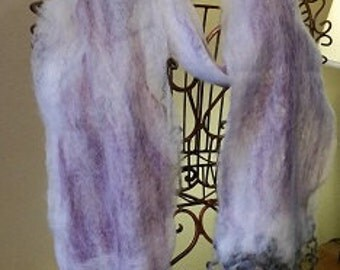 One of a Kind, Handmade, Wet felted scarf: Alpaca, Merino and Silk