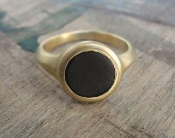 Onyx Ring , Pinky Signet Ring , Black Onyx Ring , Statement Ring , Onyx Solitaire Ring , Gold Signet Ring , Onyx Signet Ring