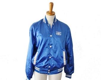 sale // Vintage 70s RARE Blue Satin Sugar Free Dr Pepper Snap Button Jacket - Men S Women M - Horizon