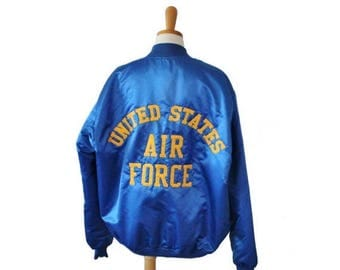 60% off sale // Vintage 80s United States Air Force Bomber Jacket - Embroidered - Men XL long - Game Sportswear, Made in America