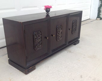 "GREEK KEY ASIAN Console / 3 Door Greek Key Console / 57"" long / Ready for Redo / James Mont / Pagoda Relief Cutouts at Retro Daisy Girl"