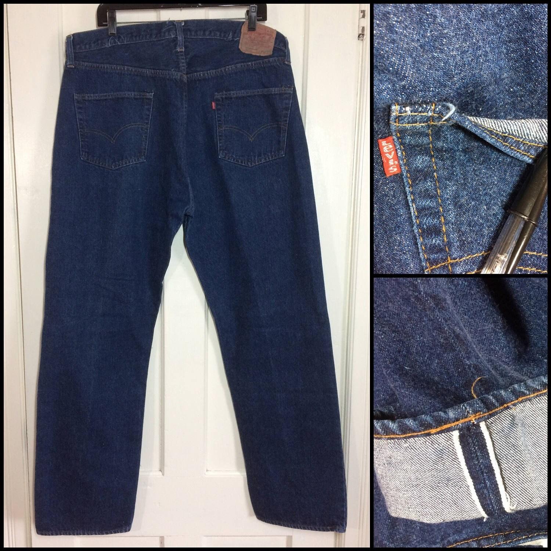 vintage indigo blue redline single stitch 501 jeans