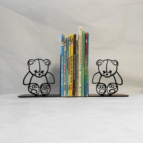 Teddy Bear Silhouette Metal Art Bookends