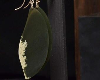 Wyoming Dark Green with Snow Nephrite Jade Earrings
