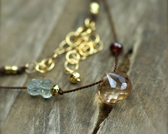 Mystic Apricot Quartz, Green Amethyst, and Garnet Gemstone Necklace. Simple Silk Necklace. Hand Knotted Silk Necklace.