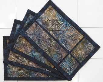 Quilted batik set of four placemats dark teal