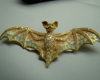 Incredible 18K gold Plique a jour enamel Bat Pin with genuine diamonds and rubies.