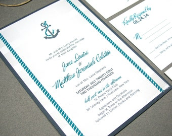 Nautical Wedding Invitation Set, Beach Wedding Invitation Suite, Anchor Wedding Invitations Printable, Gray and Teal Wedding Invitation DIY