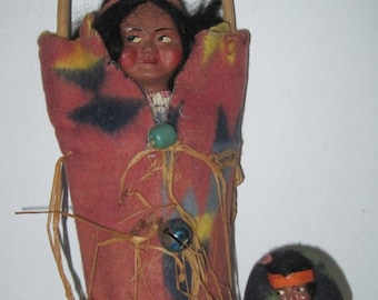 Antique vintage Native American Skookum doll and papoose with trade blanket