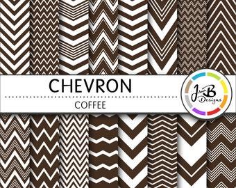 Chevron Digital Paper, Coffee, Brown, White, Chevron, Zig Zag, Digital Paper, Digital Download, Scrapbook Paper, Digital Paper Pack