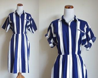 Vintage Striped Dress, Navy and White Dress, Nautical Dress, Short Sleeve Shirtdress, Collared Dress, 80s Dress, Stripes Dress, Small Medium