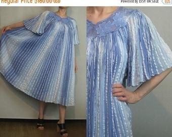 FALL SALE 70s OMBRE Gauze Ribbon Vintage Powder Blue Cotton Angel Sleeve Metallic Striped Embroidered Cutout Grecian Dress xs Small Medium 1