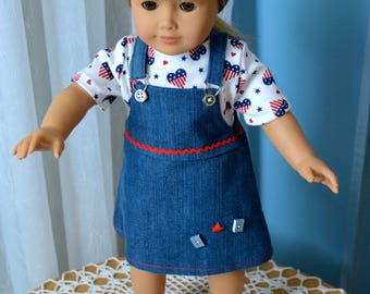 18 Inch Doll Clothes Two Piece Outfit, Blue Denim Jumper Red White and Blue Cotton Knit Tshirt by SEWSWEETDAISY