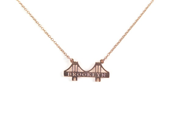 Engraved Brooklyn Bridge Pendant Necklace - Raw Brass, Rhodium or Rose Gold plated