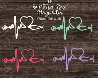 Nurse Decals, Yeti Nurse Decal, Medical Student Gift, Stethoscope Decal, Stethoscope, Nursing Student, Heartbeat, Nurses gift, Nurse decal