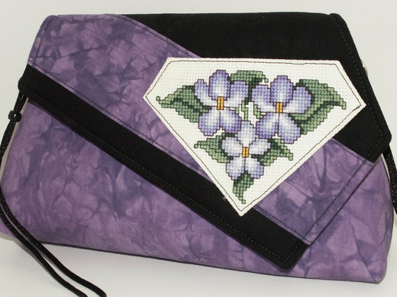 Handmade cotton shoulder bag, purse. Purple, green, cream, black. African Violets Artisan Bag by Lella Rae on Etsy