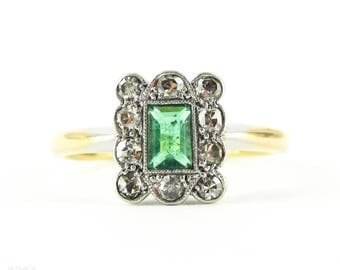 Art Deco Emerald & Diamond Engagement Ring, Rectangle Step Cut Emerald with Diamond Halo. Circa 1910s, 18ct Plat.