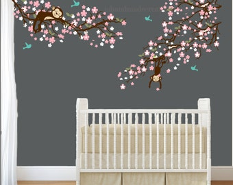 cherry blossom monkey wall decals for nursery Nursery wall decal monkey wall decal cherry blosom monke wall mural kids wall Decor