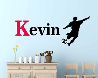 Sports- Soccer theme wall decal Personalized Initial Name Vinyl Wall Decal perfect decoration for nursery or playroom