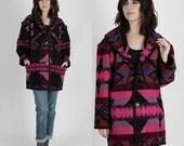 ON SALE Southwestern Coat Ethnic Blanket Jacket Wool Jacket Vintage 80s Southwestern Jacket Bright Ethnic Reversible Native Blanket Jacket M