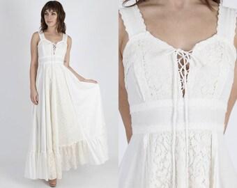 Gunne Sax Dress Boho Dress Boho Wedding Dress Prairie Dress Renaissance Dress Bridesmaids Dress Vintage 70s Ivory Floral Lace Hippie Maxi M