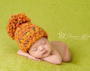 Rainbow Pom Chunky Hat Orange Green Pink Yellow Purple Newborn Photography Prop