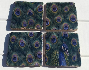 Peacock Coaster Set of 4 Tea Coffee Beer Coasters