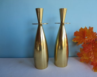 Vintage Brass Candlestick Pair - Gold Danish Modern Candle Holders