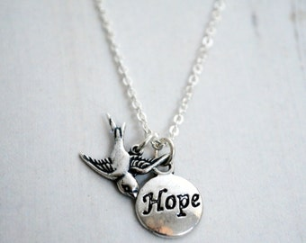 Hope Inspirational Necklace, Silver Bird Pendant, Recovery Necklace, Get Well, Motivation