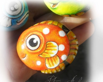 FISH No.2 -  Handpainted, rock painting, painted stone, miniature, painted rock, pebble, fine art