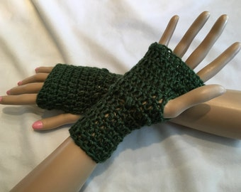 Crocheted Fingerless Gloves-Forest Green-Small-Adult