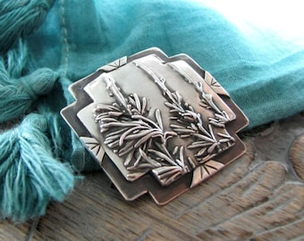 Page One, Fine Silver Botanical Pendant, Desert Sage, Southwest Plant Reproduction, Handmade by SilverWishes