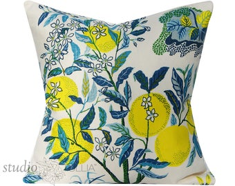 Schumacher Pillow Cover - Citrus Garden by Josef Frank - 20 inch - Pool - Decorative Pillow Cover